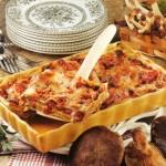 Lasagne con funghi, melanzane e robiola