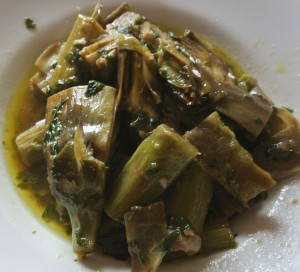 carciofi con finocchi selvatici